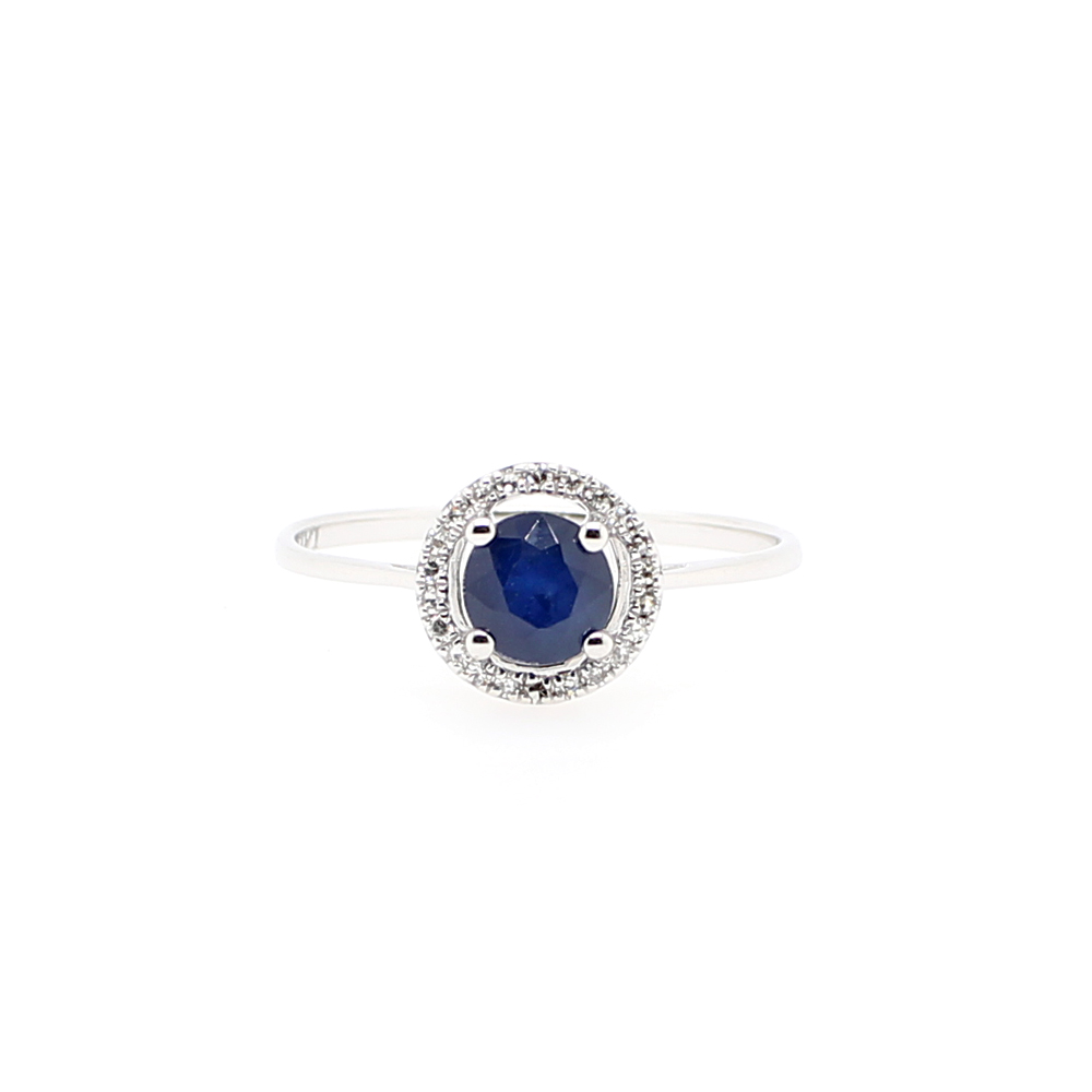14 Karat White Gold Round Blue Sapphire and Diamond Halo Ring