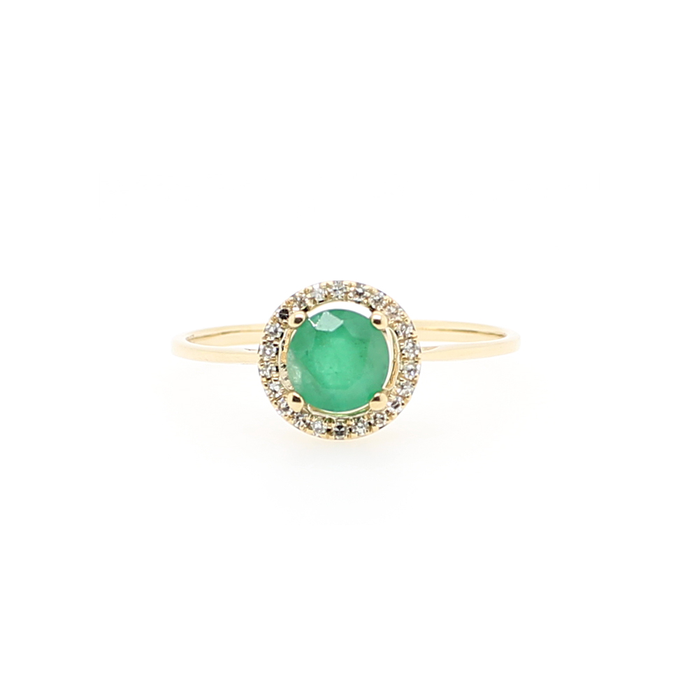 14 Karat Yellow Gold Round Emerald and Diamond Halo Ring