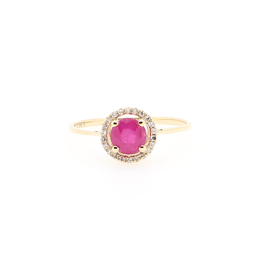 14 Karat Yellow Gold Round Ruby and Diamond Halo Ring
