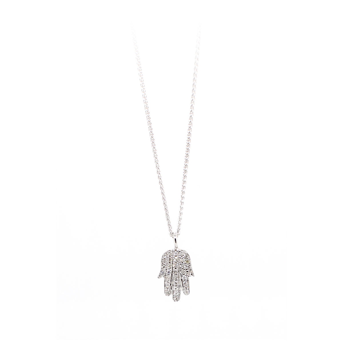 14 Karat White Gold Diamond Hamsa Pendant Necklace
