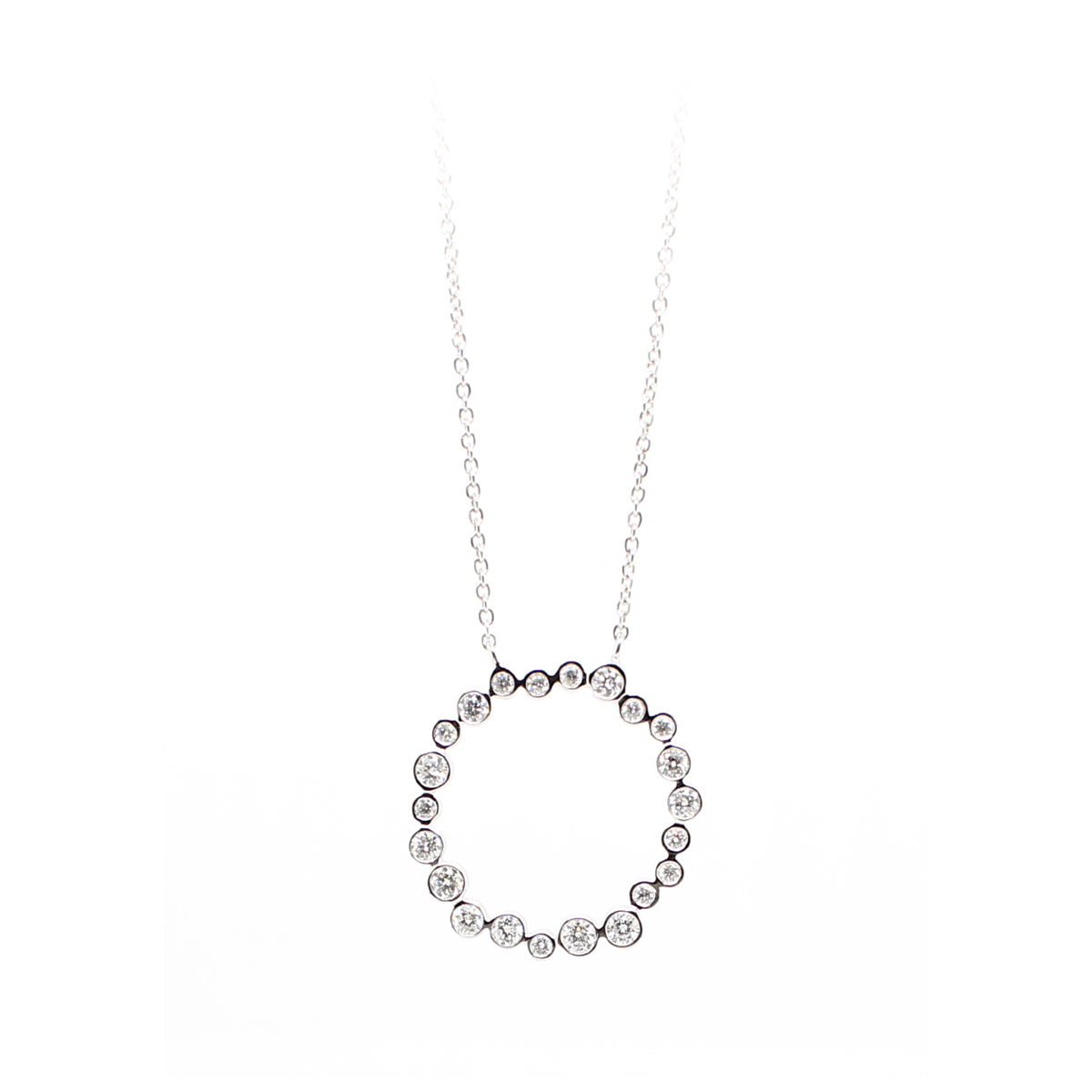 14 Karat White Gold Diamond Disk Necklace