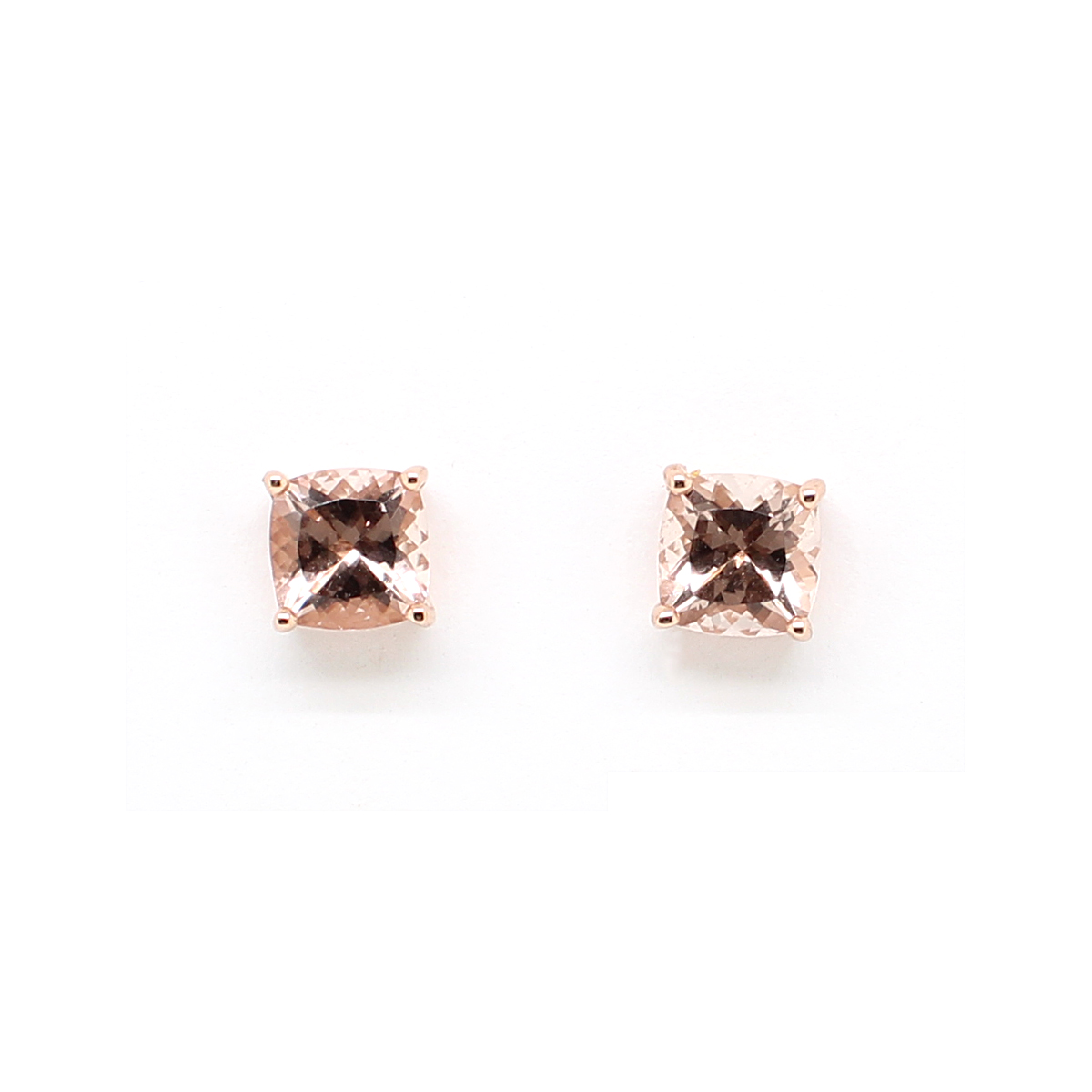 14 Karat Rose Gold Morganite Stud Earrings