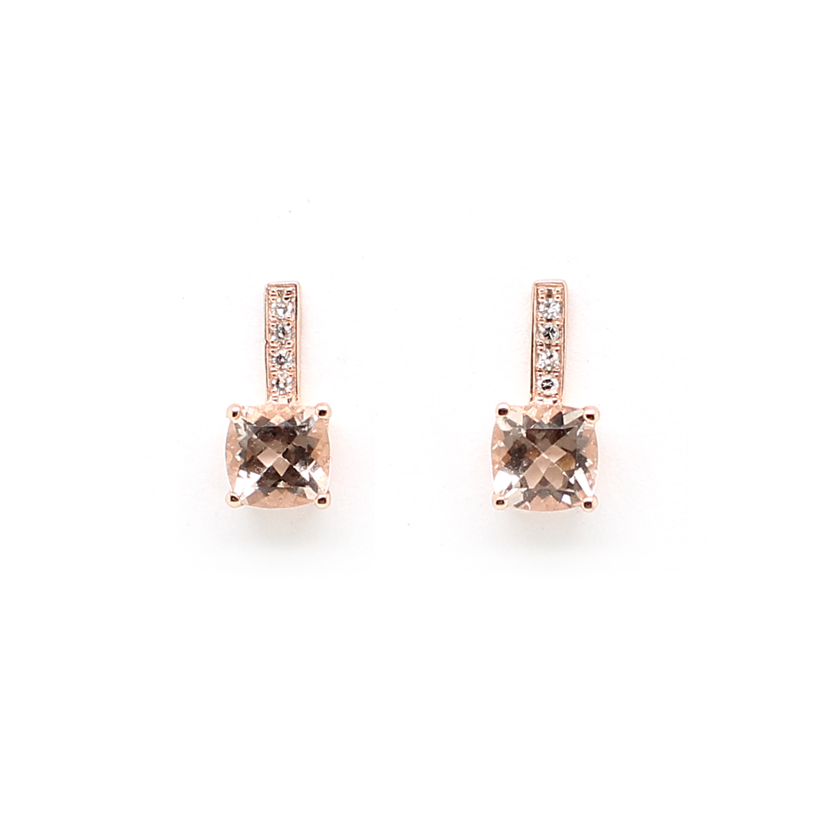 14 Karat Rose Gold Morganite and Diamond Earrings