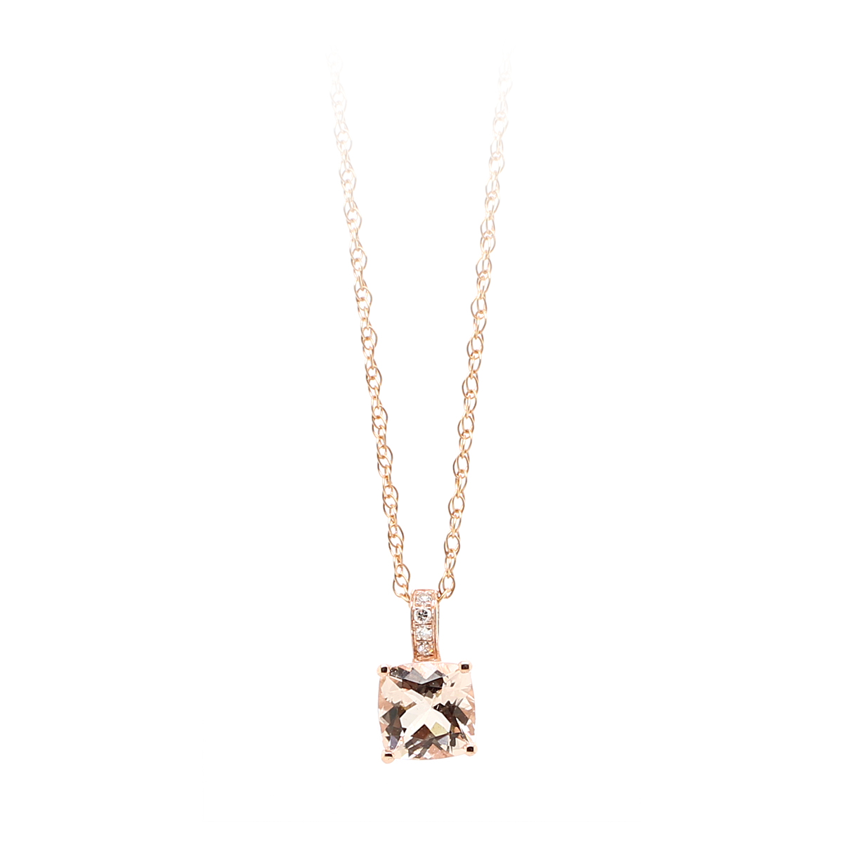 14 Karat Rose Gold Morganite and Diamond Pendant necklace