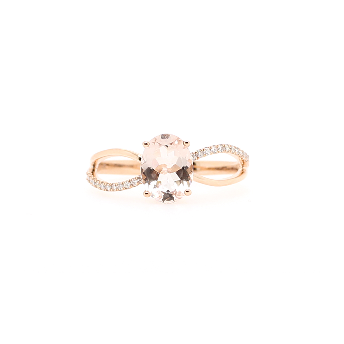 14 Karat Rose Gold Oval Morganite and Diamond Ring