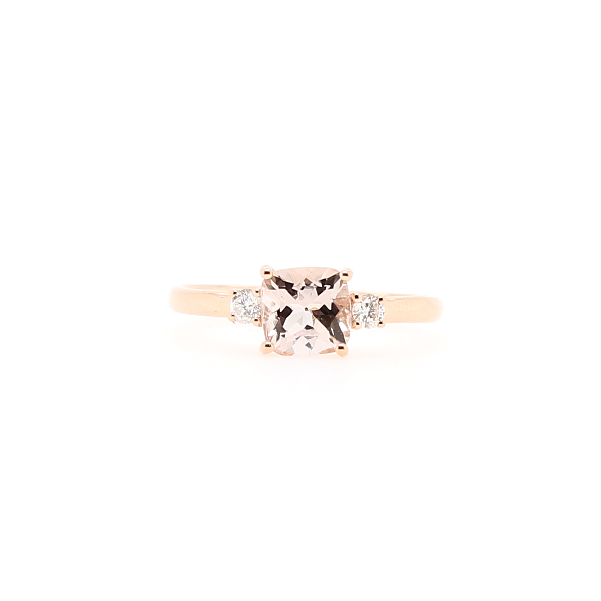 14 Karat Rose Gold Morganite and Diamond Ring