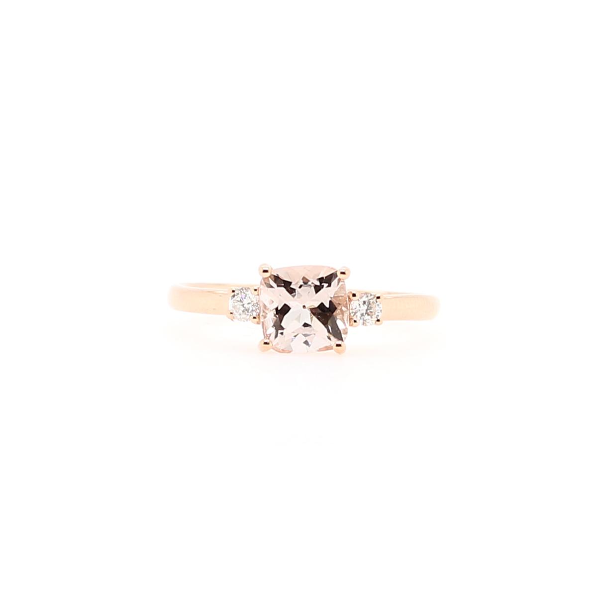 14 Karat Rose Gold Morganite and Diamond Ring