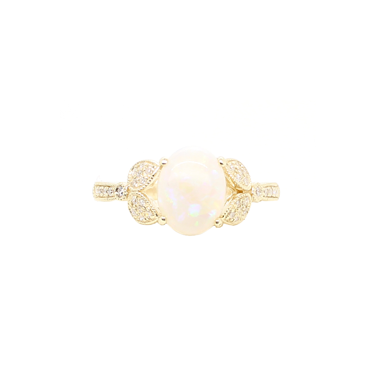 14 Karat Yellow Gold Australian Opal and Diamond Ring