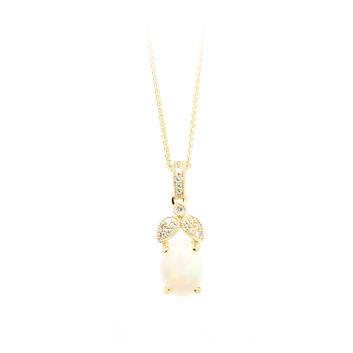 14 Karat Yellow Gold Australian Opal and Diamond Pendant Necklace