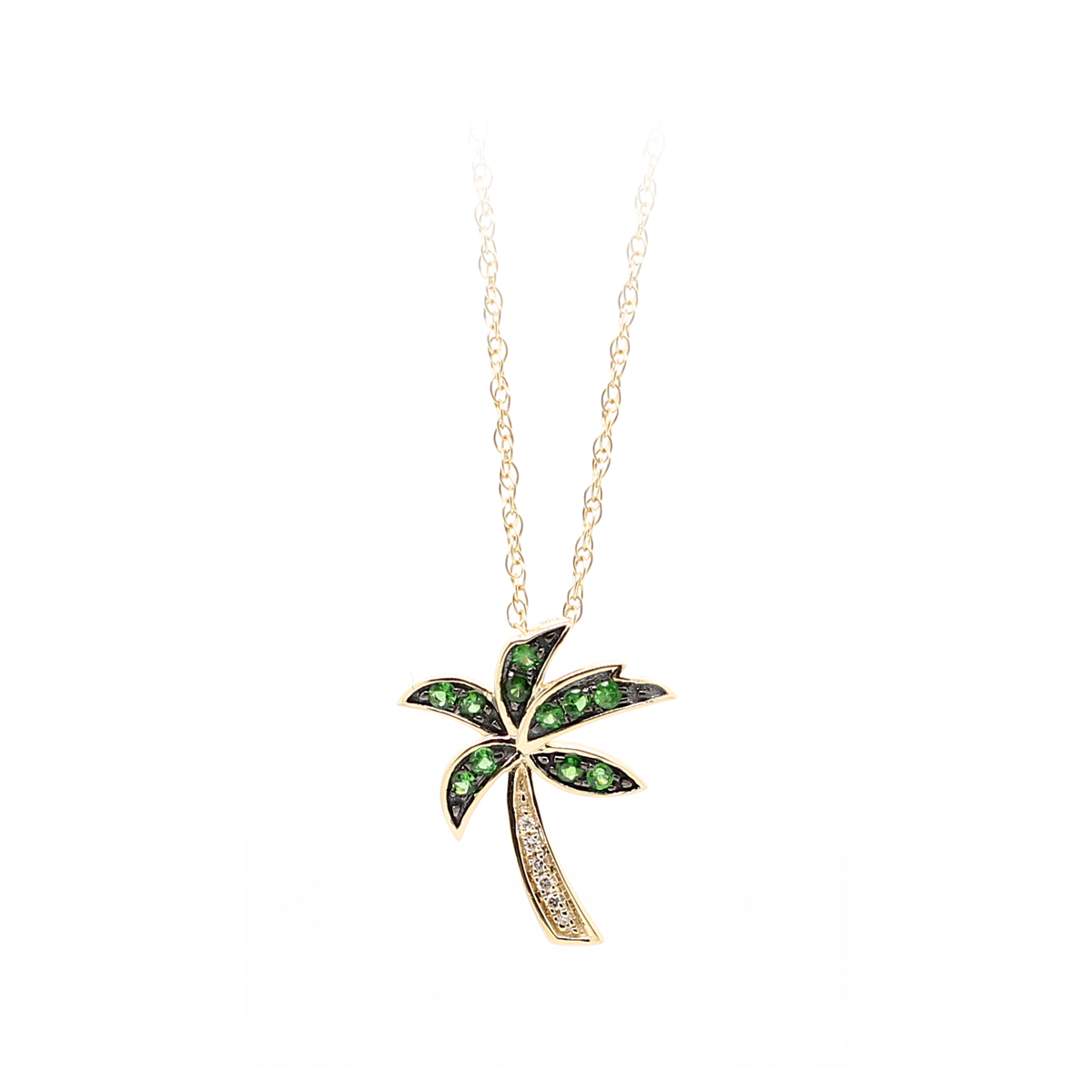 14 Karat Yellow Gold Tsavorite and Diamond Palm Tree Pendant Necklace