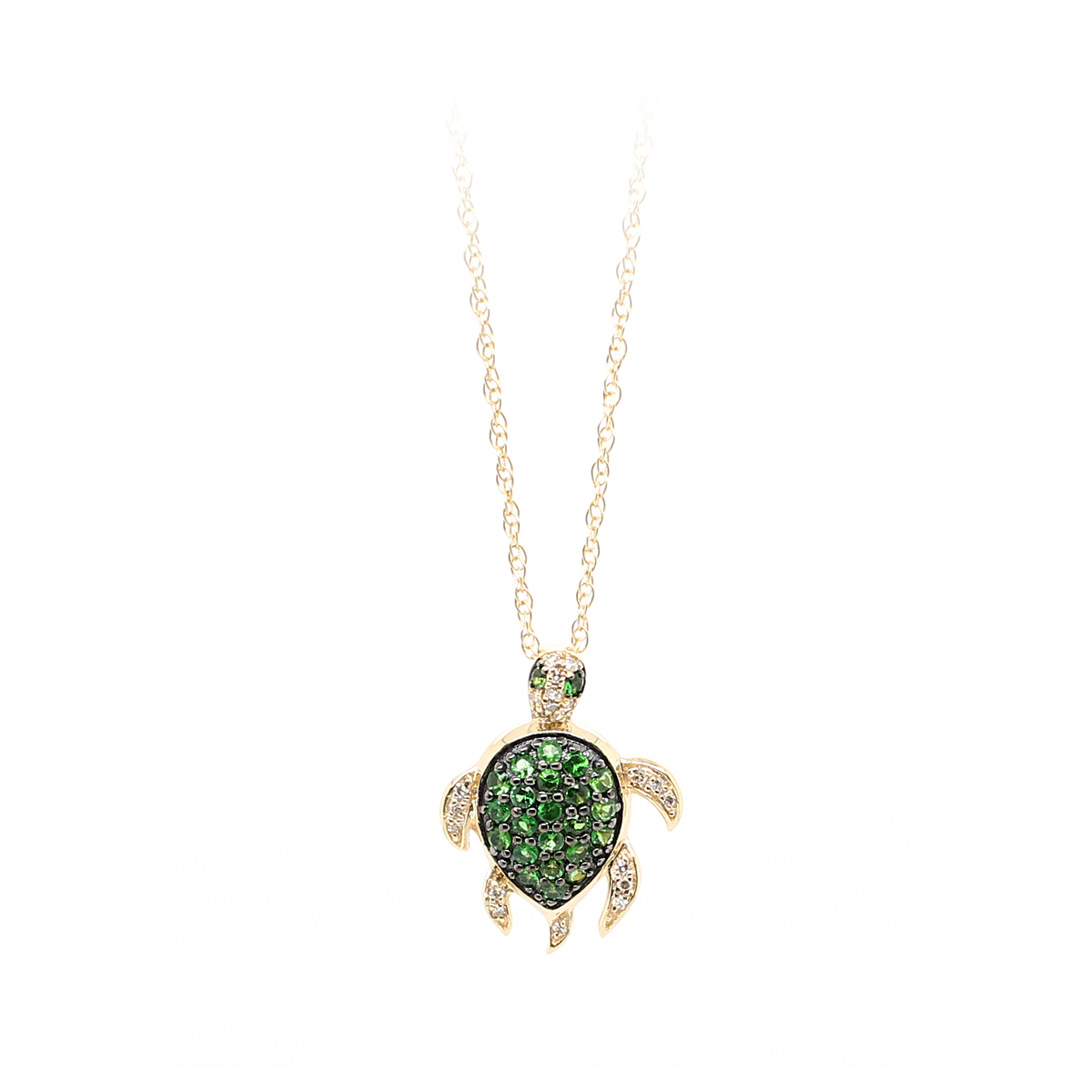 14 Karat Yellow Gold Tsavorite and Diamond Turtle Pendant Necklace