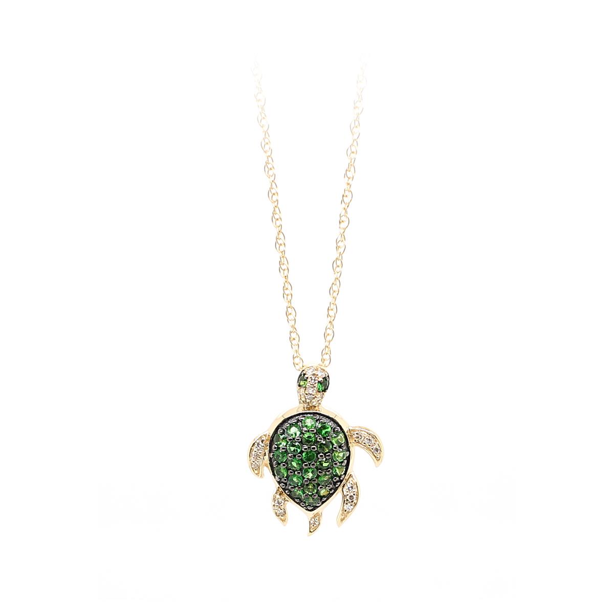 14 Karat Yellow Gold Tsavorite and Diamond Turtle Pendant Necklace
