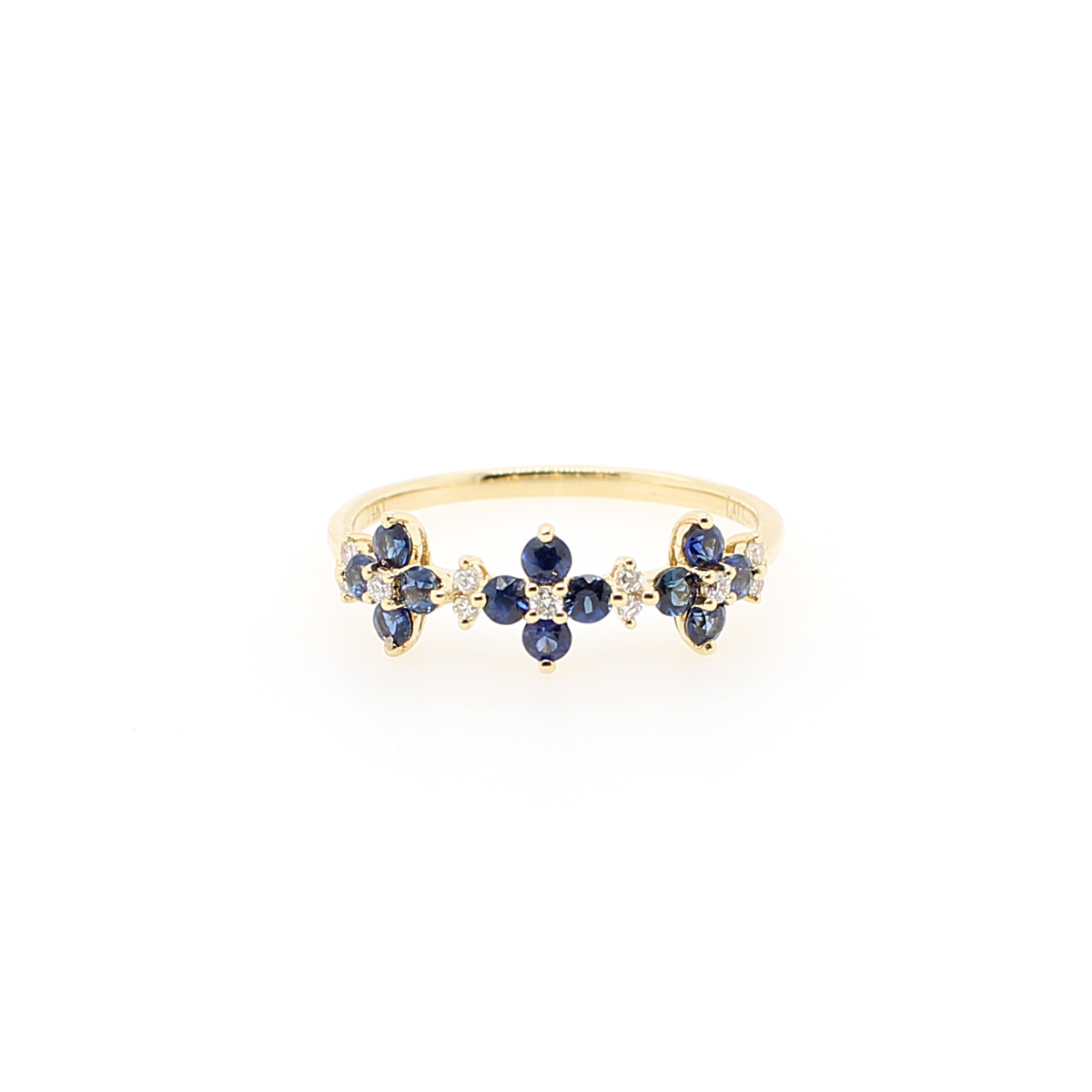 14 Karat Yellow Gold Sapphire and Diamond Flower Ring