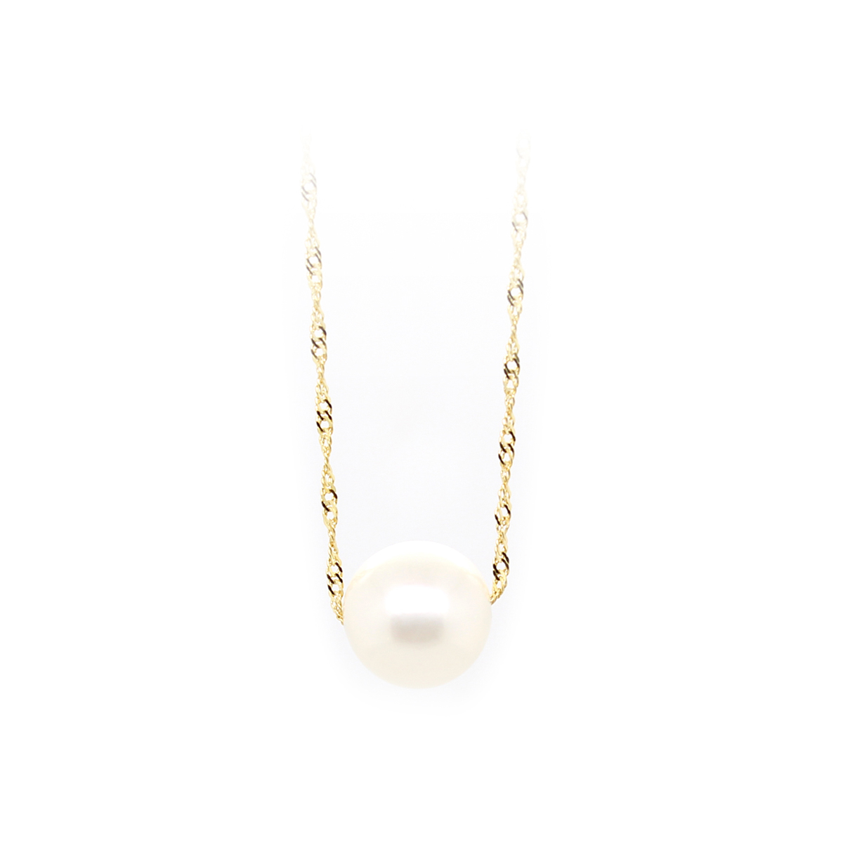 14 Karat Yellow Gold Twisted Serpentine Chain with One White Pearl