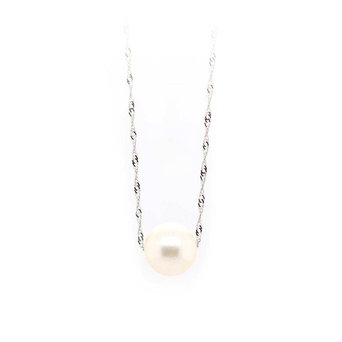14 Karat White Gold Twisted Serpentine Chain with One White Pearl