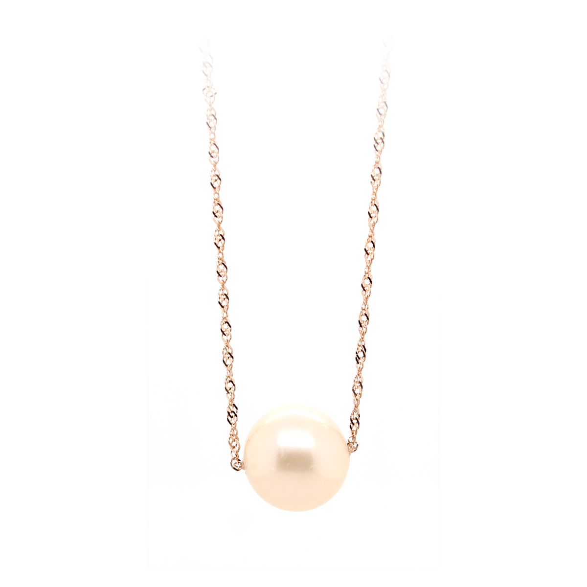 14 Karat Rose Gold Twisted Serpentine Chain with One White Pearl