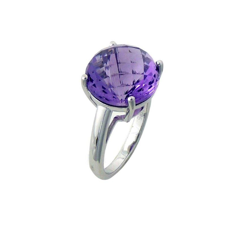 Sterling Silver Large Round Faceted Amethyst Ring