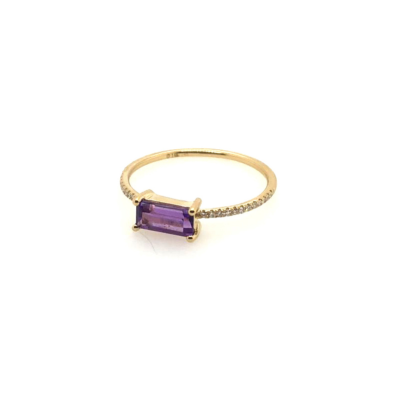 14 Karat Yellow Gold Amethyst and Diamond Bar Ring