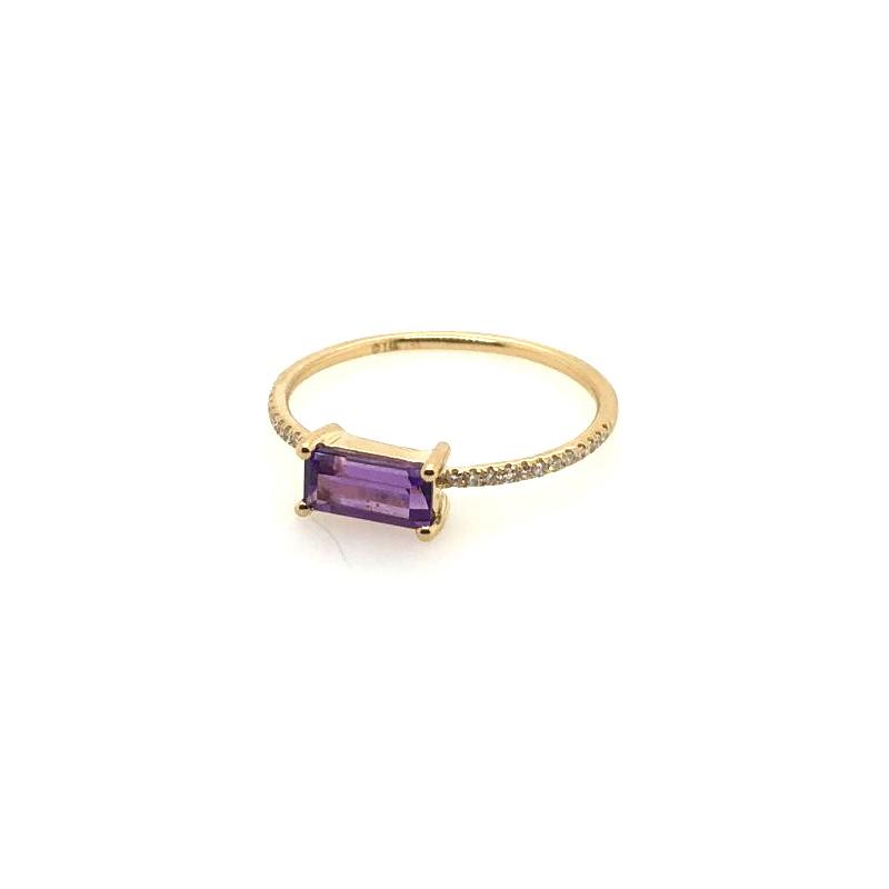 14 Karat Yellow Gold Amethyst and Diamond Bar Ring