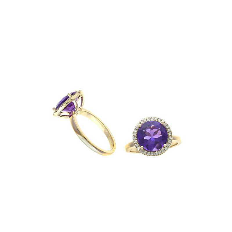 Ryan Gems 14 Karat Yellow Gold Amethyst and Diamond Ring