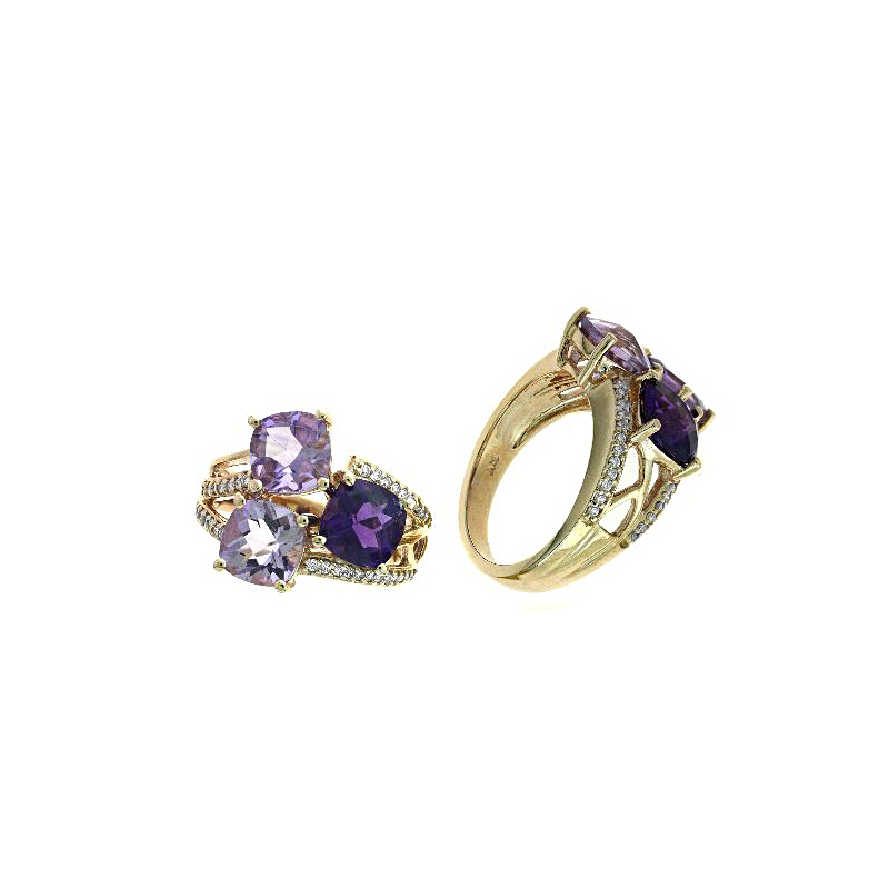 Ryan Gems 14 Karat Rose Gold Amethyst and Diamond Ring