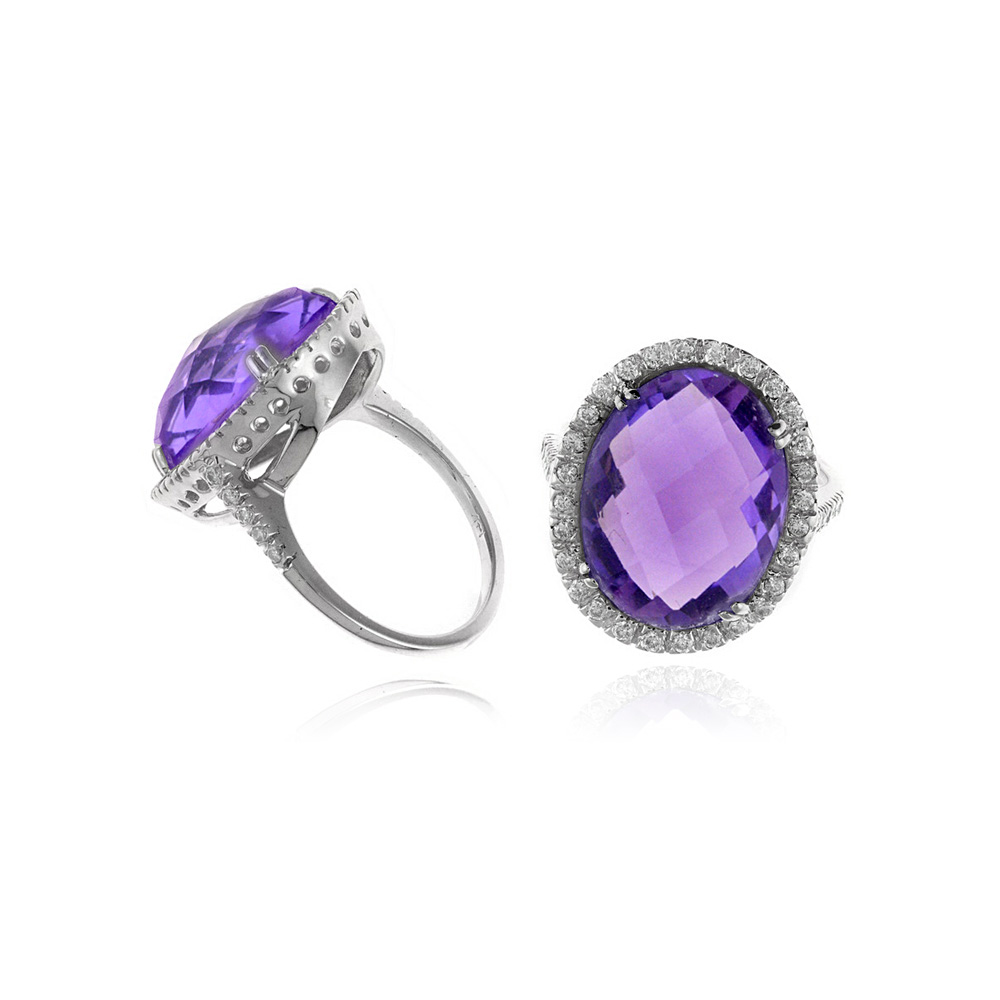 Ryan Gems 14 Karat White Gold Amethyst and Diamond Ring