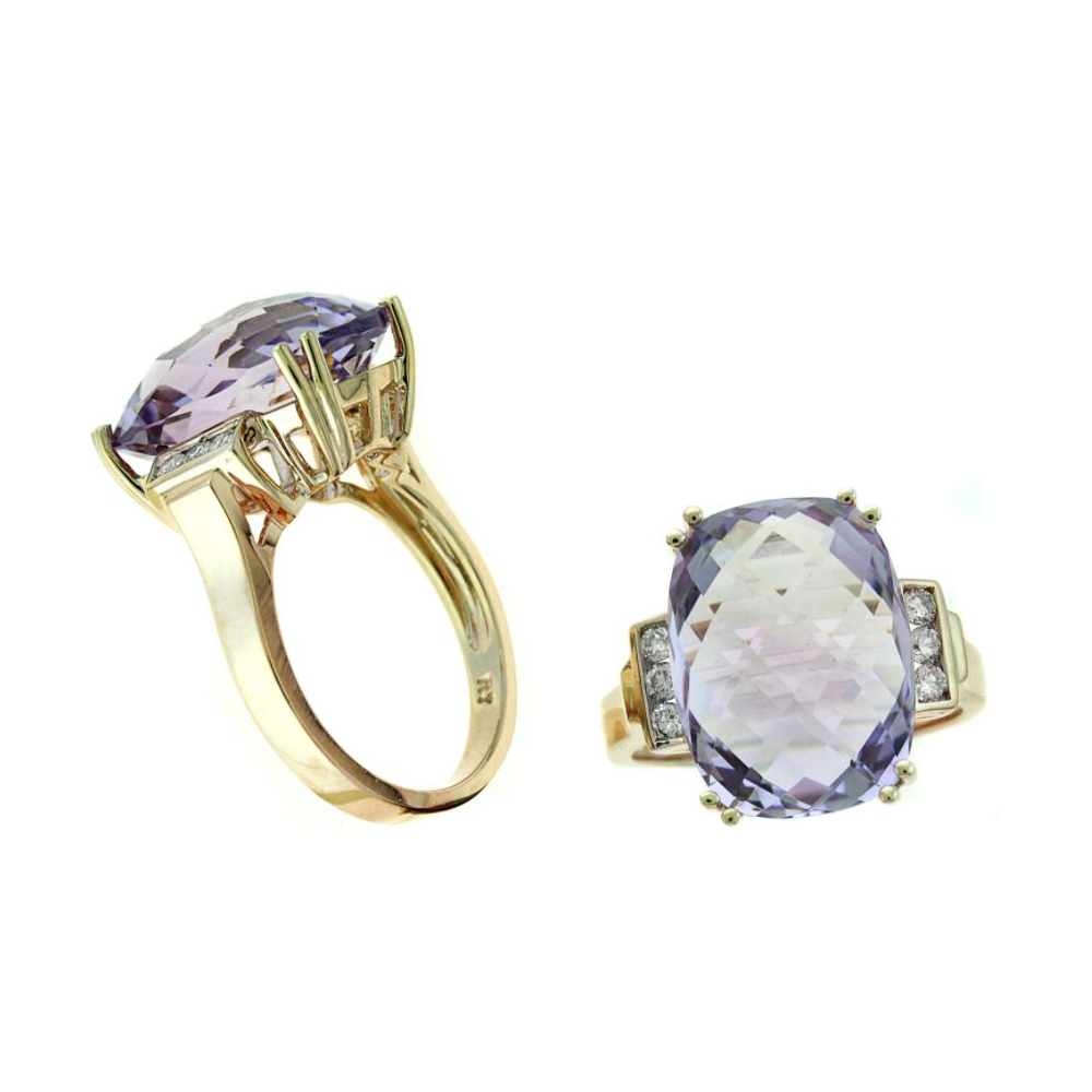 14 Karat Rose Gold Faceted Amethyst and Diamond Ring