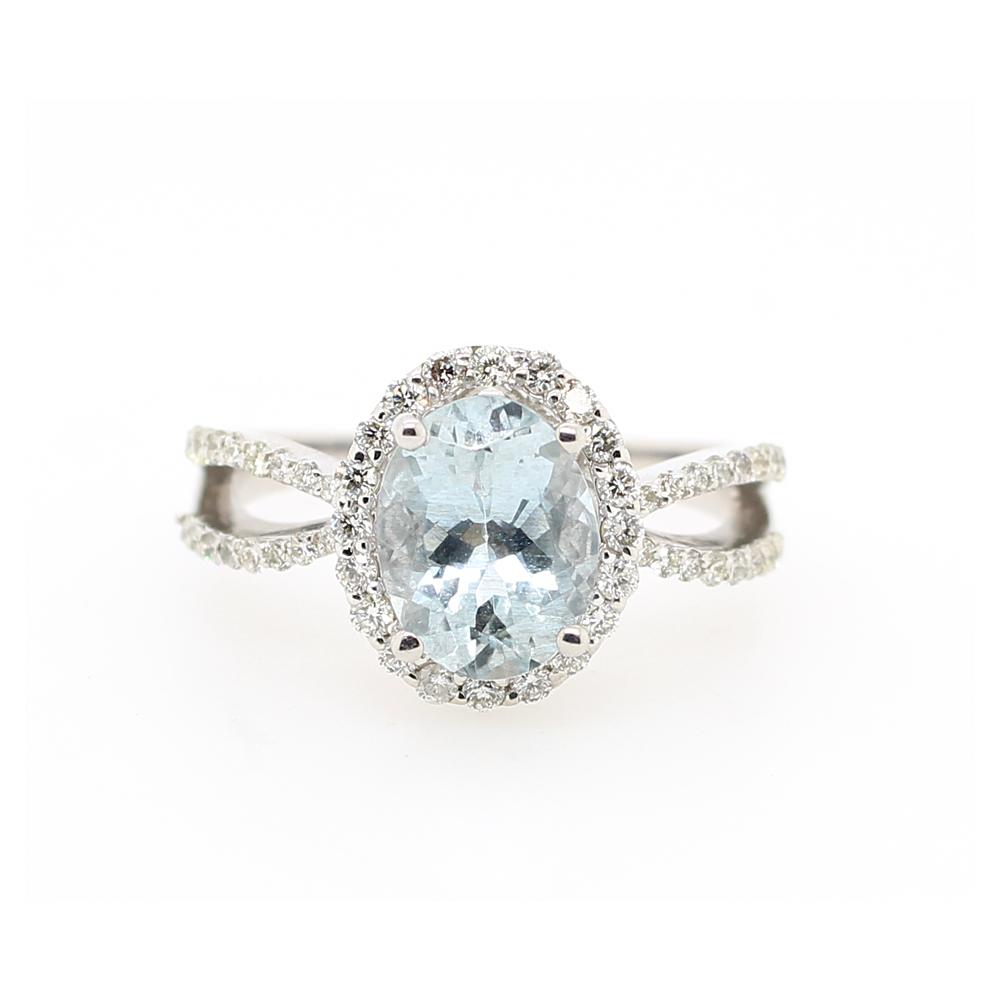 Ryan Gems 14 Karat White Gold Aqua and Diamond Ring