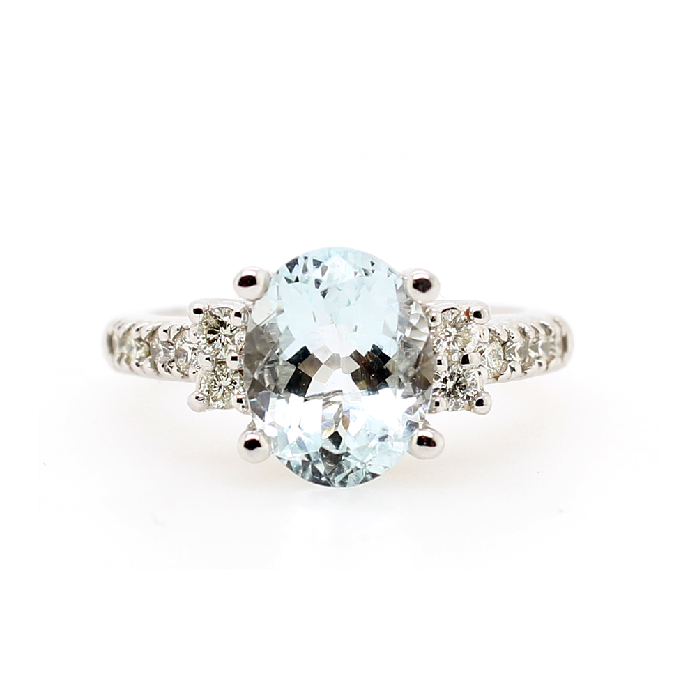 Ryan Gems 14 Karat White Gold Aqua and Diamond Ring