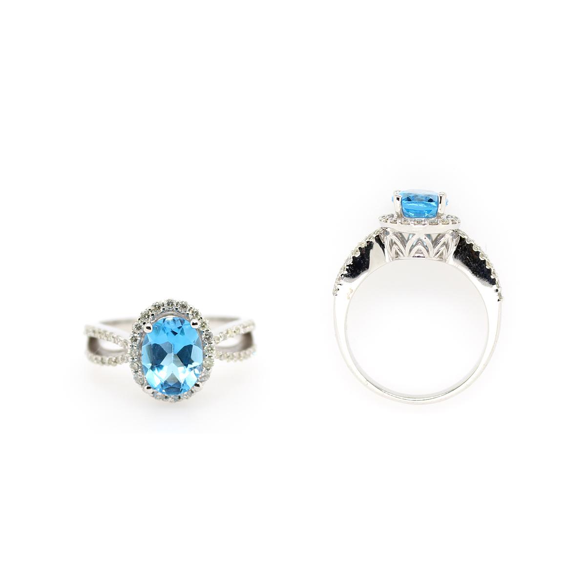 Ryan Gems 14 Karat White Gold Blue Topaz and Diamond Ring