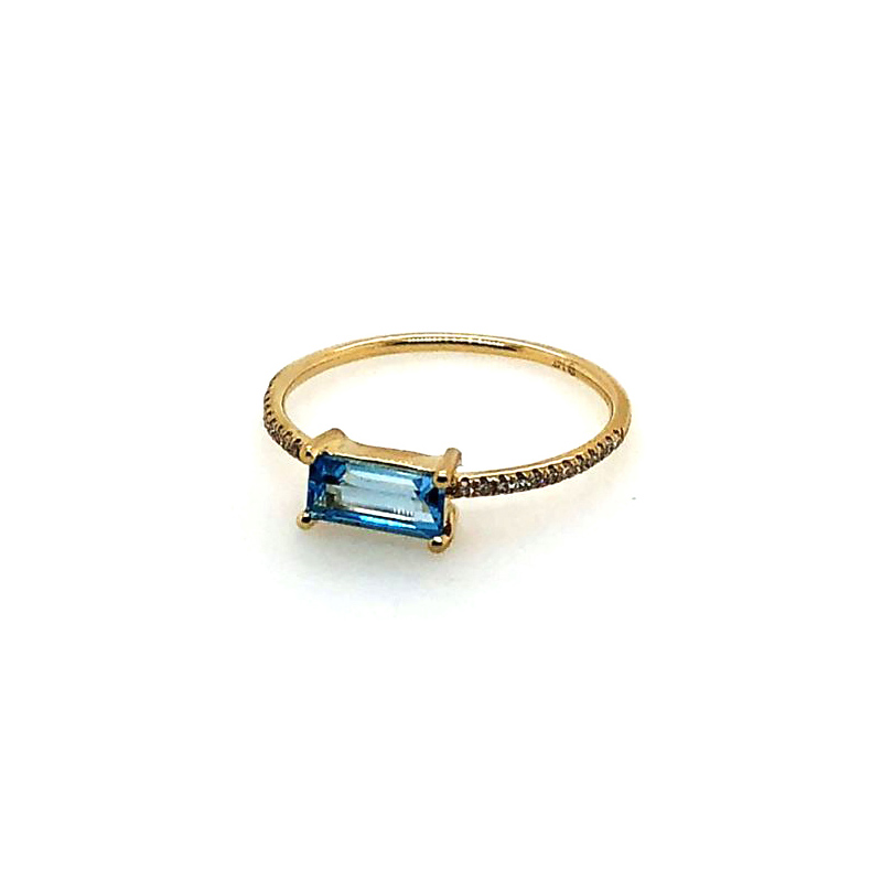 14 Karat Yellow Gold Blue Topaz and Diamond Bar Ring