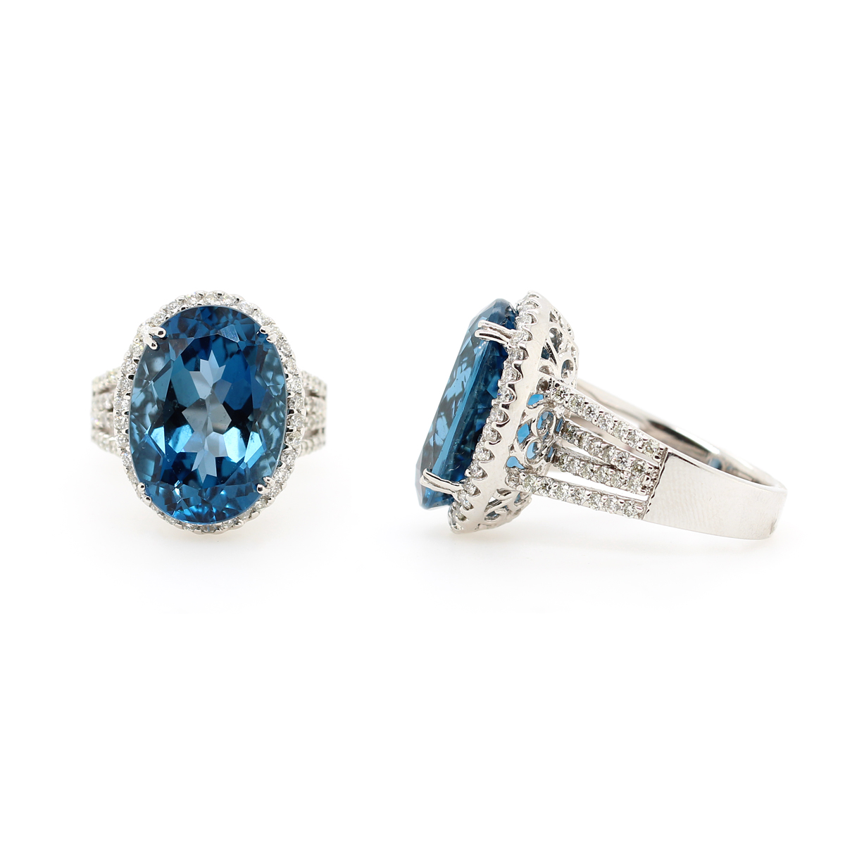 Ryan Gems 14 Karat White Gold Blue Topaz and Diamond Ring