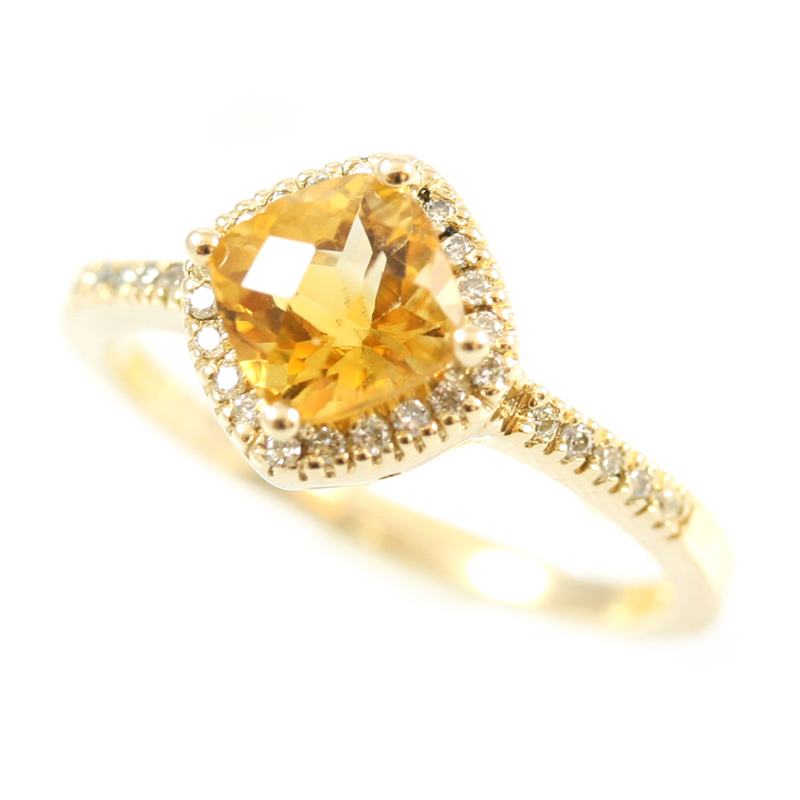 14 karat yellow gold diamond and citrine ring.