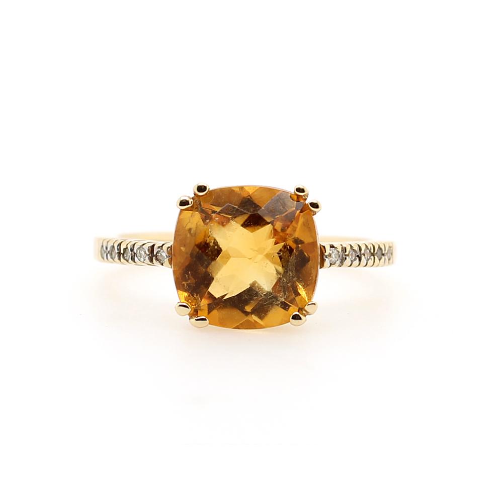 Ryan Gems 14 Karat Yellow Gold Citrine and Diamond Ring