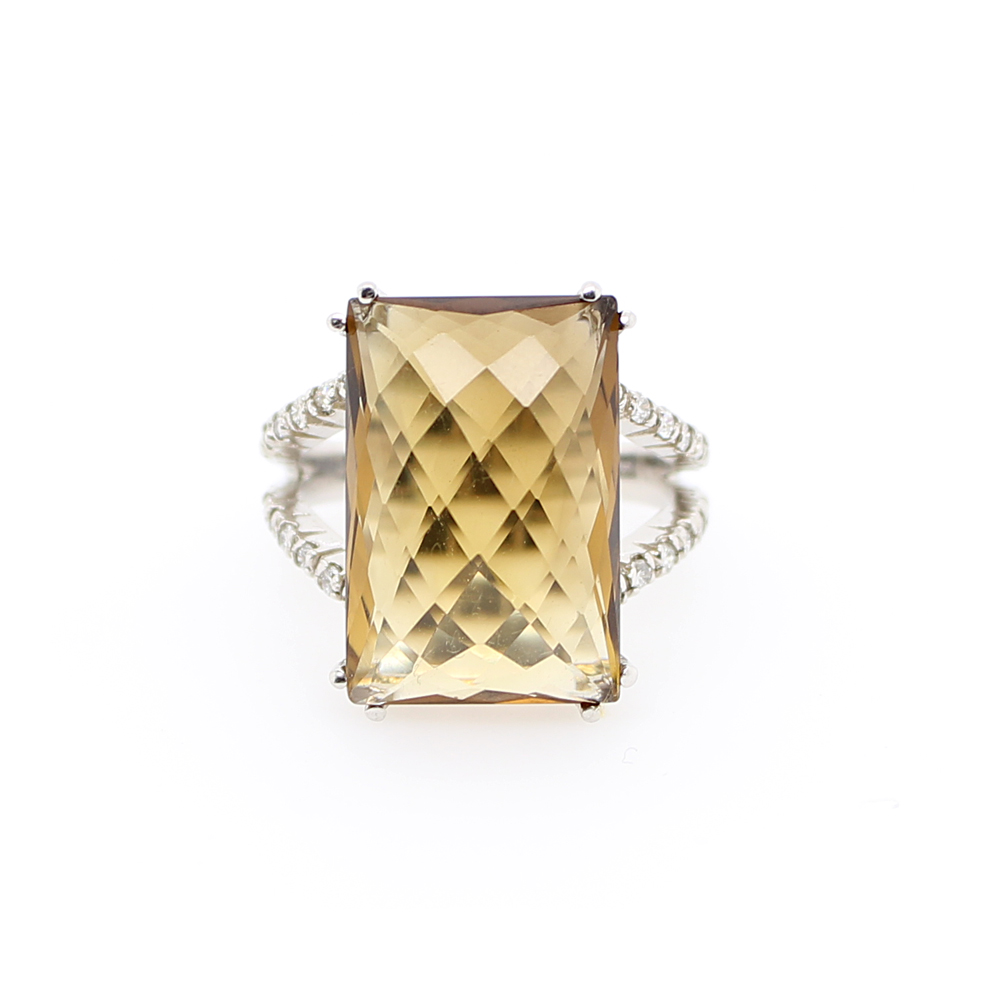 Ryan Gems 14 Karat White Gold Rectangular Citrine and Diamond Ring