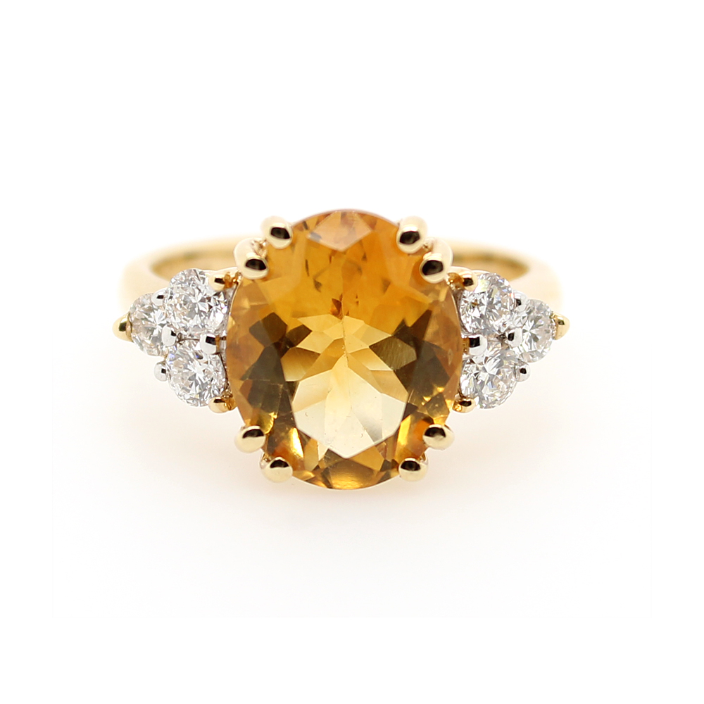 Ryan Gems 14 Karat Yellow Gold Citrine and Diamond Ring