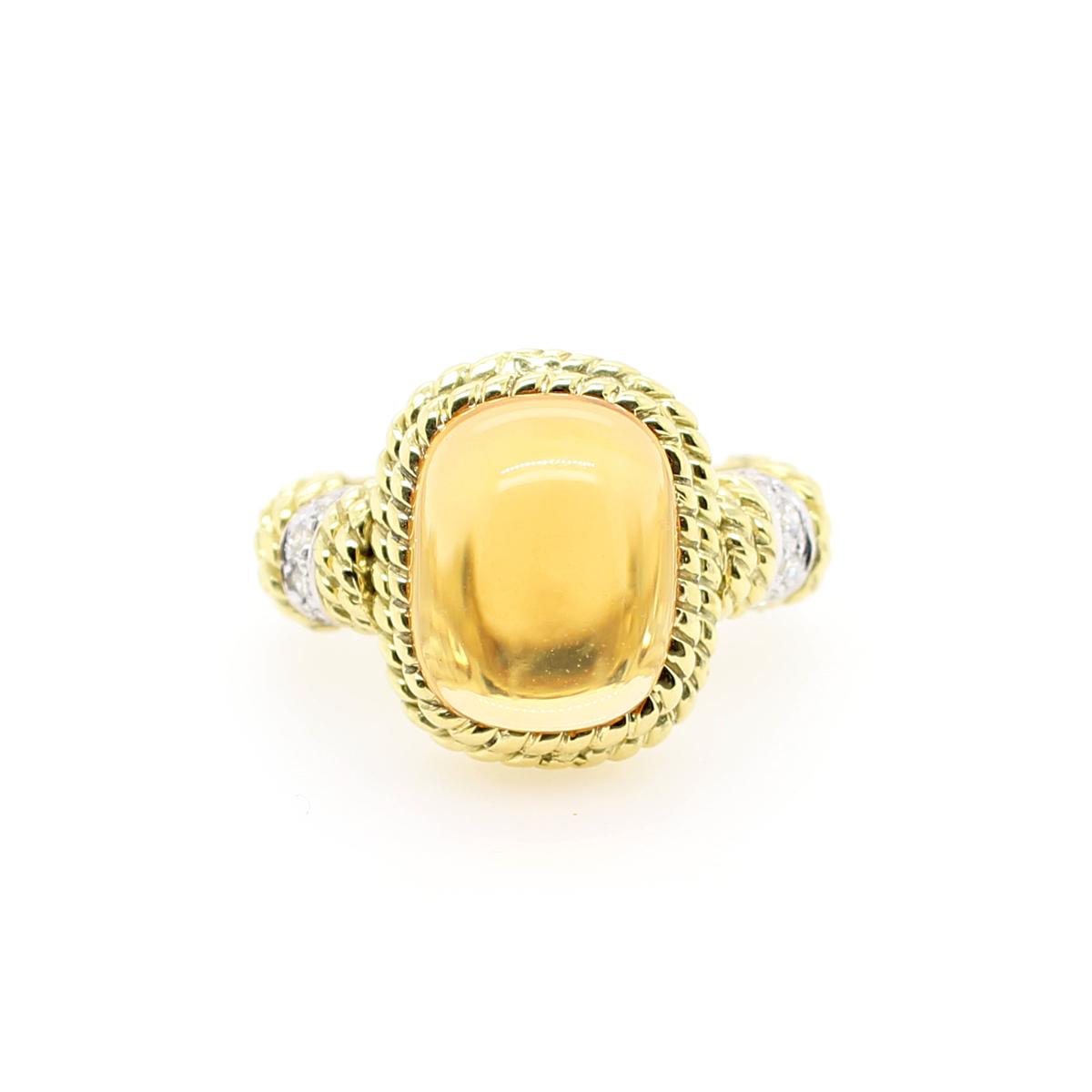 18 Karat Yellow Gold Cabochon Citrine and Diamond Ring