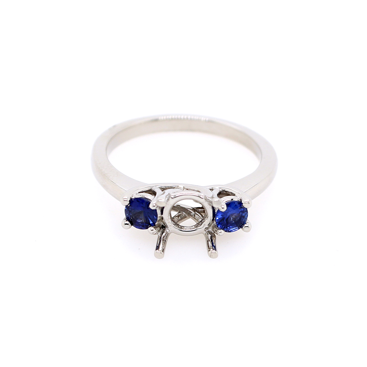 Platinum Two Round Blue Sapphire Semi Mount Ring