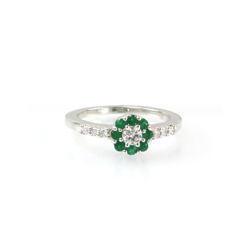 14 Karat White Gold Round Emerald and Diamond Ring
