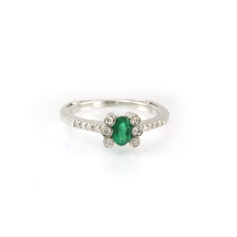 14 Karat Yellow Gold Oval Emerald and Diamond Ring
