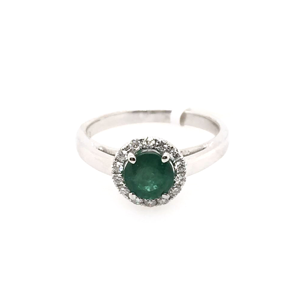 18 Karat White Gold Round Emerald and Diamond Ring