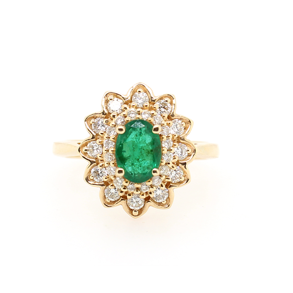 Ryan Gems 14 Karat Yellow Gold Emerald and Diamond Flower Ring