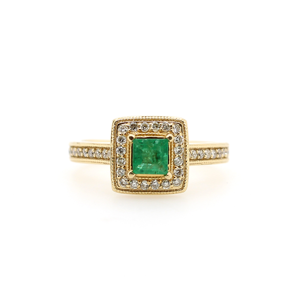 Ryan Gems 14 Karat Yellow Gold Square Emerald and Diamond Ring