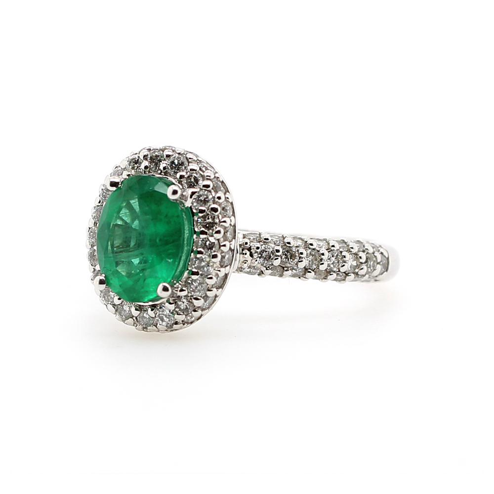 Ryan Gems 14 Karat White Gold Emerald and Diamond Ring