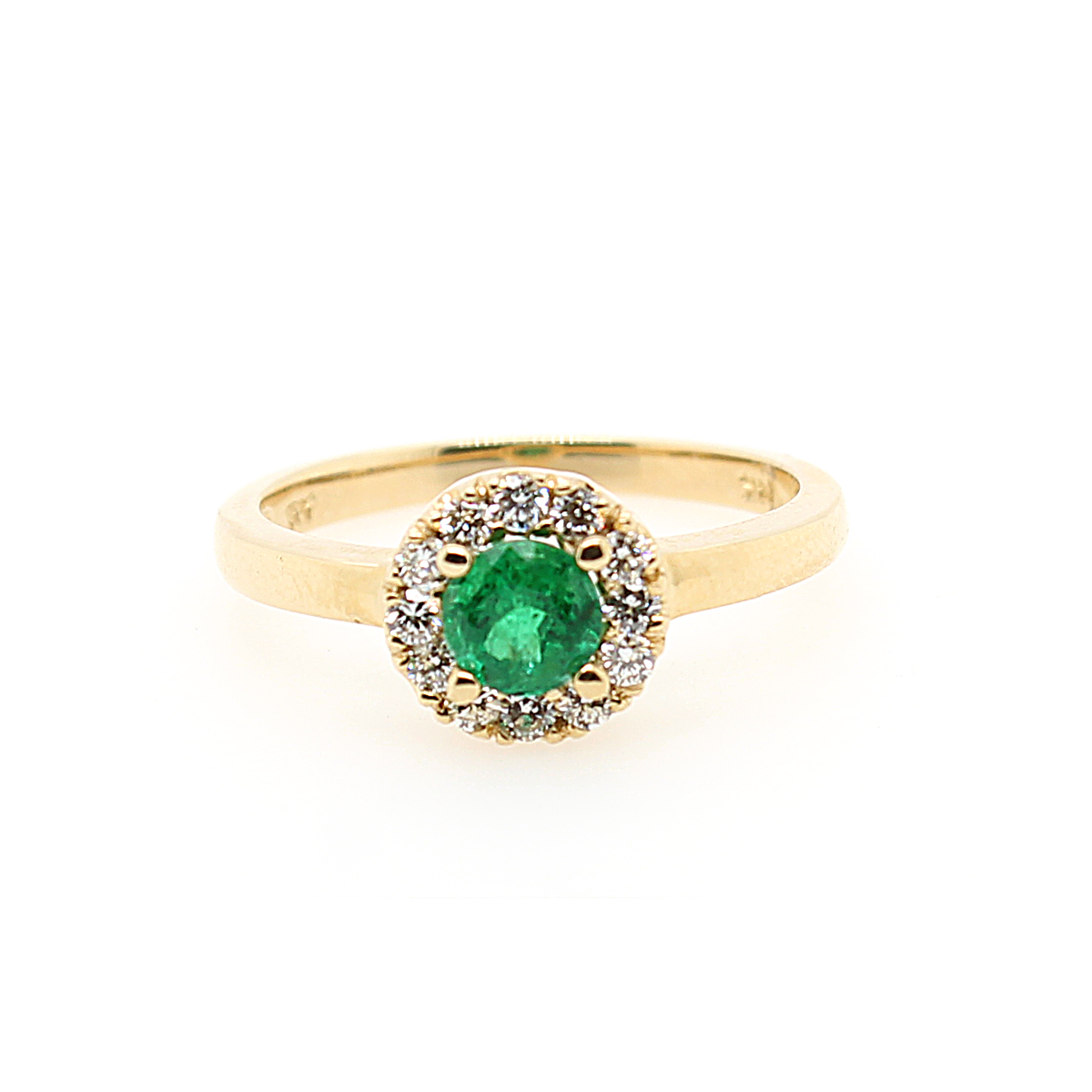 Ryan Gems 14 Karat Yellow Gold Round Emerald and Diamond Halo Ring
