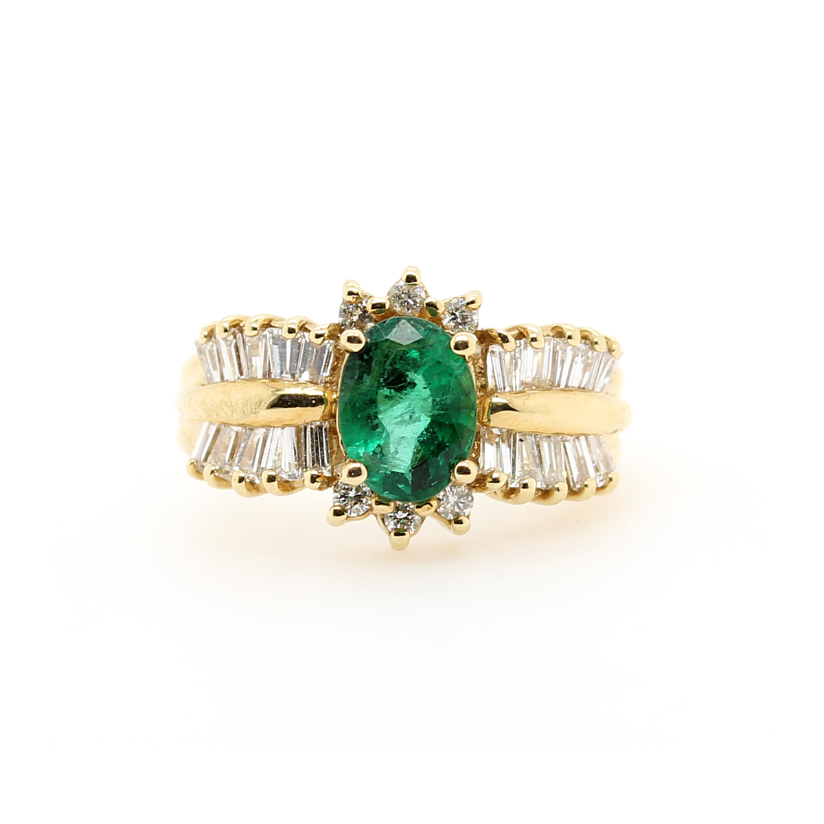 Ryan Gems 14 Karat Yellow Gold Emerald and Diamond Ring
