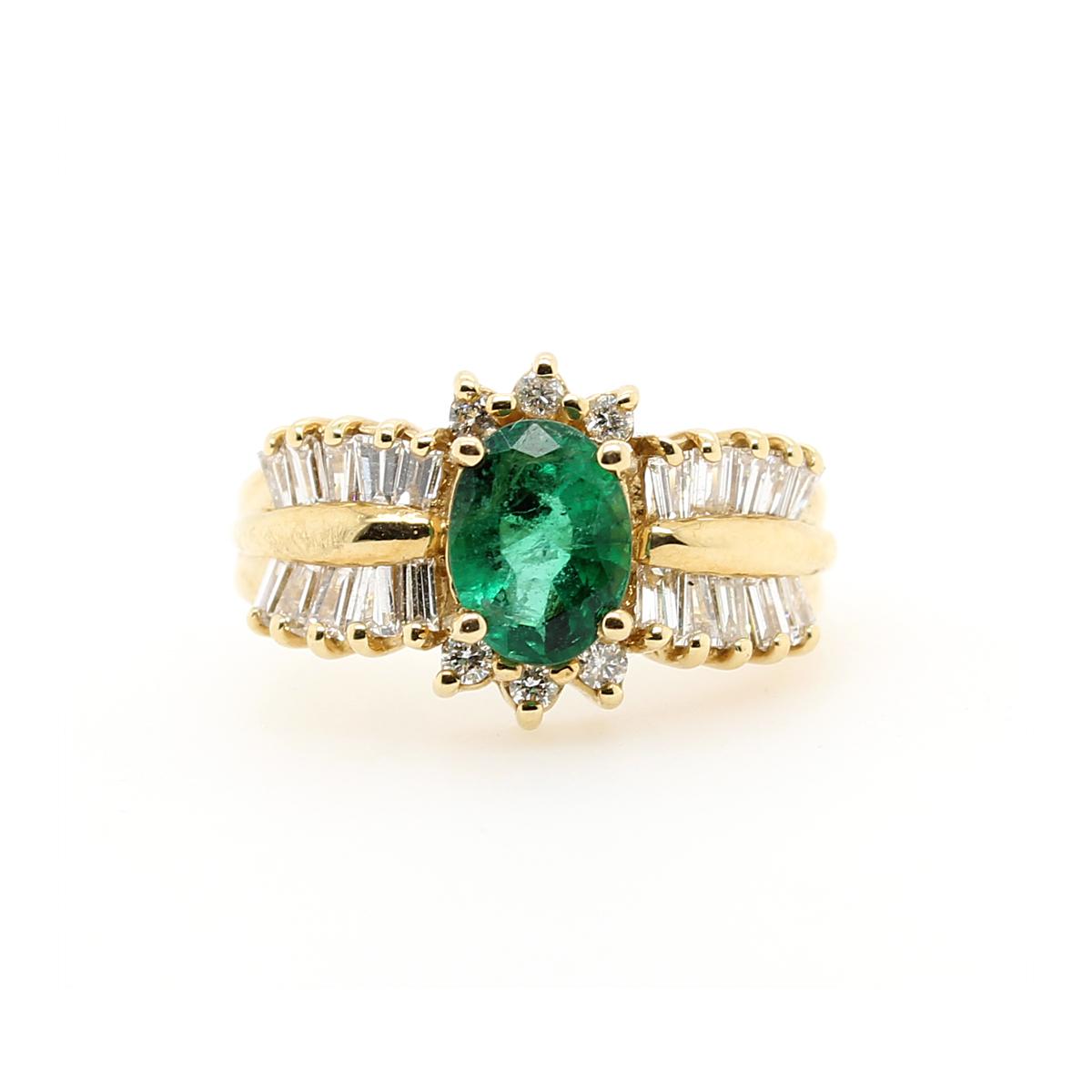 Ryan Gems 14 Karat Yellow Gold Emerald and Diamond Ring