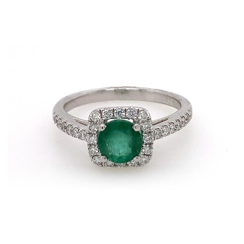 18 Karat White Gold Round Emerald and Diamond Ring