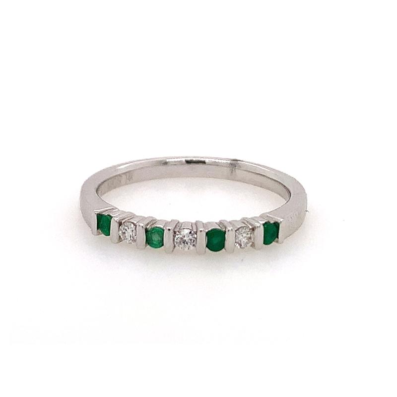 14 Karat White Gold Emerald and Diamond Bar Set Ring