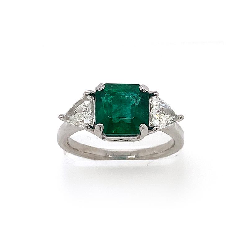 Platinum Square Cut Emerald and Trillion Diamond Ring